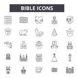 Ligne icônes de bible pour le Web et la conception mobile Signes Editable de course Illustrations de concept d'ensemble de bible illustration libre de droits