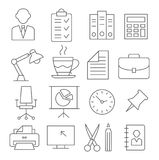 Ligne icônes de bureau Illustration Stock