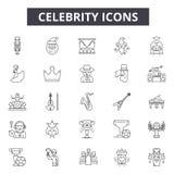Ligne icônes de célébrité pour le Web et la conception mobile Signes Editable de course Illustrations de concept d'ensemble de cé illustration libre de droits
