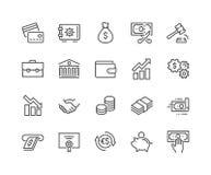 Ligne icônes de finances illustration de vecteur