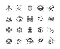 Ligne icônes de l'espace Planètes et étoiles cosmiques de télescope spatial de météore de lancement de fusée d'astronaute de gala illustration stock