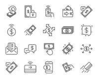 Ligne icônes de paiement L'ensemble du transfert Accept, salaire avec le téléphone et cardent par la poste Vecteur Illustration de Vecteur