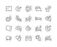 Ligne icônes de sommeil illustration stock