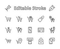 Ligne icônes de vecteur de caddie réglées : Argent, atmosphère, produits de liste, légumes, carte de banque, terminal, sac, achat illustration libre de droits