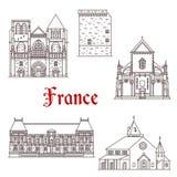 Ligne icônes de vecteur d'architecture de Frances en Bretagne illustration stock