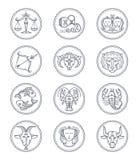 Ligne icônes de vecteur d'astrologie de vecteur de zodiaque Bélier et Taureau, Gémeaux et cancer, Lion et Vierge, Balance et Scor Photos libres de droits