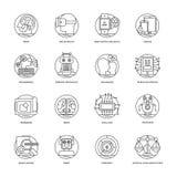Ligne icônes 3 de vecteur d'intelligence artificielle illustration stock