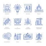 Ligne icônes de vecteur de technologie énergétique de construction d'ingénierie réglées