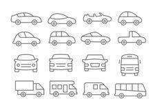 Ligne icônes de voiture illustration de vecteur