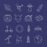 Ligne icônes de voyage dans l'espace Ensemble d'éléments des planètes, des vaisseaux spatiaux, de l'UFO, du satellite, du regard  illustration stock