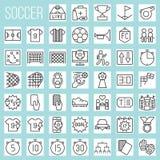 Ligne icônes du football réglées illustration stock