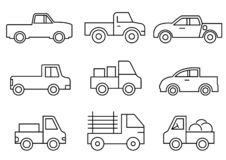 Ligne icônes ensemble, transport, camion pick-up, illustrations de vecteur illustration libre de droits
