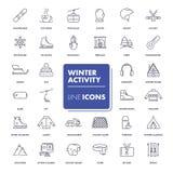 Ligne icônes réglées Activité d'hiver Images libres de droits