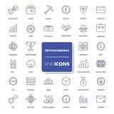 Ligne icônes réglées Cryptocurrency Photo stock