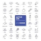 Ligne icônes réglées Durée active Photos libres de droits