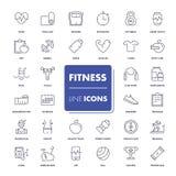 Ligne icônes réglées Forme physique Photographie stock