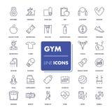 Ligne icônes réglées Gymnastique Image stock