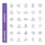 Ligne icônes réglées logistique Photographie stock libre de droits
