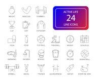 Ligne icônes réglées Paquet actif de la vie illustration libre de droits