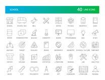 Ligne icônes réglées Paquet d'école photos stock