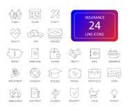 Ligne icônes réglées Paquet d'assurance Photos stock
