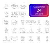 Ligne icônes réglées Paquet de transport photographie stock libre de droits