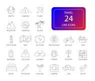 Ligne icônes réglées Paquet de voyage Images libres de droits