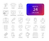 Ligne icônes réglées paquet médical Photos libres de droits