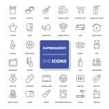 Ligne icônes réglées supermarché Photographie stock libre de droits