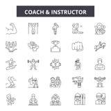 Ligne icônes, signes, ensemble de vecteur, concept d'entraîneur et d'instructeur d'illustration d'ensemble illustration de vecteur