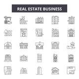 Ligne icônes, signes, ensemble de vecteur, concept d'entreprise immobilière d'illustration d'ensemble illustration de vecteur