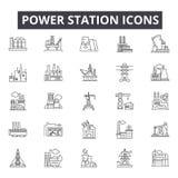 Ligne icônes, signes, ensemble de vecteur, concept linéaire, illustration de centrale d'ensemble illustration libre de droits