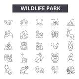 Ligne icônes, signes, ensemble de vecteur, concept linéaire, illustration de parc de faune d'ensemble illustration stock