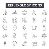 Ligne icônes, signes, ensemble de vecteur, concept linéaire, illustration de réflexothérapie d'ensemble illustration stock
