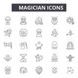Ligne icônes, signes, ensemble de vecteur, concept de magicien d'illustration d'ensemble illustration libre de droits
