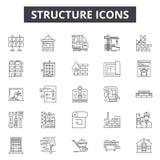 Ligne icônes, signes, ensemble de vecteur, concept de structure d'illustration d'ensemble illustration de vecteur