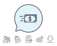 Ligne icône d'argent d'argent liquide de transfert banking Images libres de droits