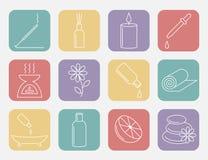 Ligne icône d'huile essentielle Huiles d'Aromatherapy réglées Vecteur Images libres de droits