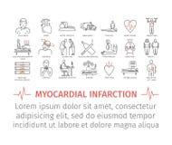 Ligne icône d'infarctus du myocarde Symptômes, traitement Photos libres de droits