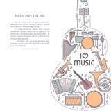 Ligne icône d'instrument de musique rétro dans la forme de guitare Brochure musicale classique Carte décorative de certificat de  Images libres de droits