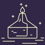 Ligne icône de brûleur à alcool Signe chimique de vecteur d'équipement de laboratoire Illustration de recherches scientifiques Él Image libre de droits