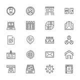 Ligne icône de contacts réglée - vecteur minimaliste Photographie stock libre de droits