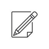 Ligne icône de crayon et de papier Photos stock
