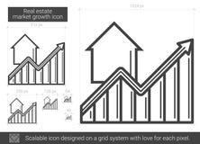 Ligne icône de croissance de marché de l'immobilier Photos libres de droits