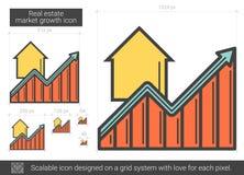 Ligne icône de croissance de marché de l'immobilier Photos stock