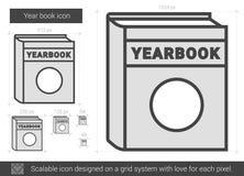 Ligne icône de livre d'année Photos stock