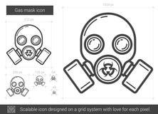 Ligne icône de masque de gaz illustration stock