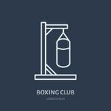 Ligne icône de vecteur de boxe Logo de sac de sable, signe d'équipement Illustration de compétition sportive Image libre de droits