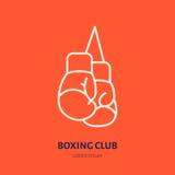 Ligne icône de vecteur de gants de boxe Logo de club de boîte, signe d'équipement Illustration de compétition sportive Photos stock