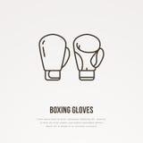 Ligne icône de vecteur de gants de boxe Logo de club de boîte, signe d'équipement Illustration de compétition sportive Photographie stock libre de droits